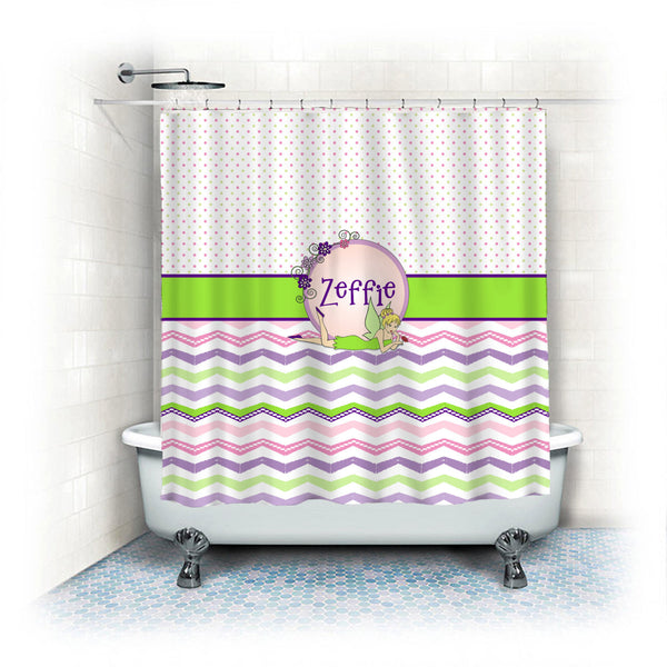 Tink Inspired Theme Shower Curtain - Pink and green Dots and Stylized Chevron - Fantasy Fairy Monogram Frame