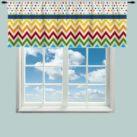 Custom Window Curtain or Valance, Rainbow Multi Color Dot and Chevron Featured- Any Size - Any Colors - Any Pattern - Perfect for Classrooms