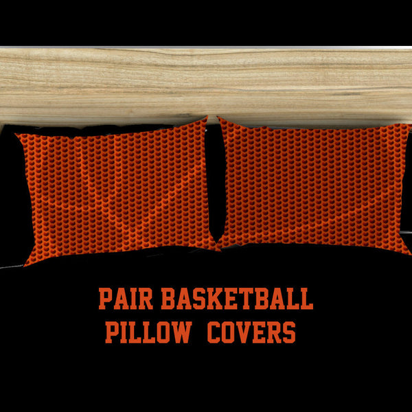Textured Basketball Pillow Covers- Shadow Basketball with Textured Dimples-Can Personalize - Standard or King Size