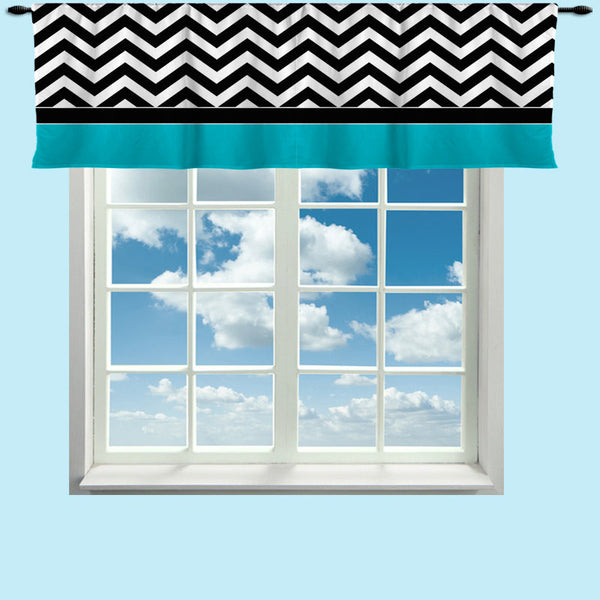 Custom Valance, Black Chevron with Color Border Featured- Any Size - Any Colors - Any Pattern - Perfect for Classrooms