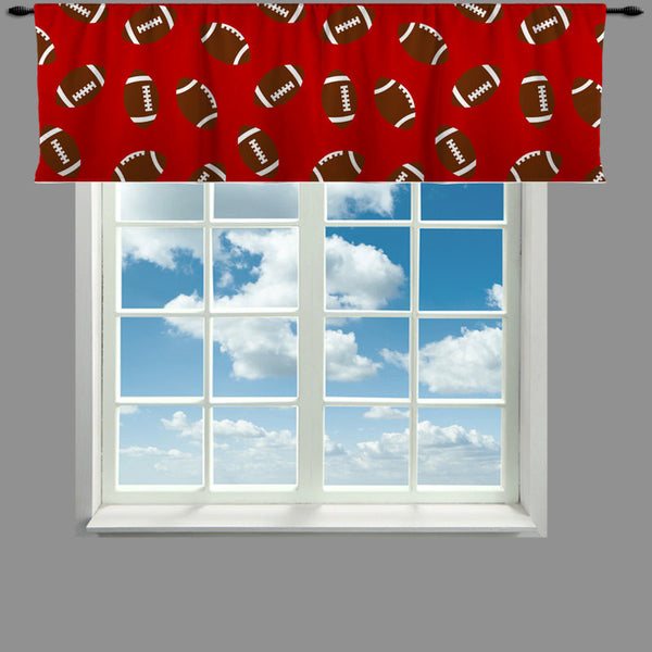 Custom Window Curtain or Valance, Footballs on Red, Green, Toast, or Blue - Any Size - Request OTHER color backgrounds