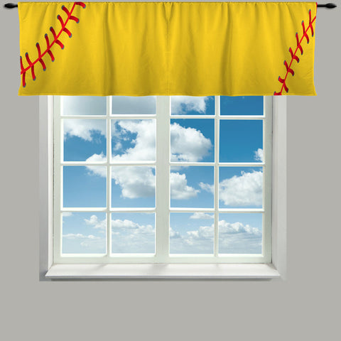 Custom Window Curtain or Valance, Stitched Yellow Softball Colors Featured- Any Size