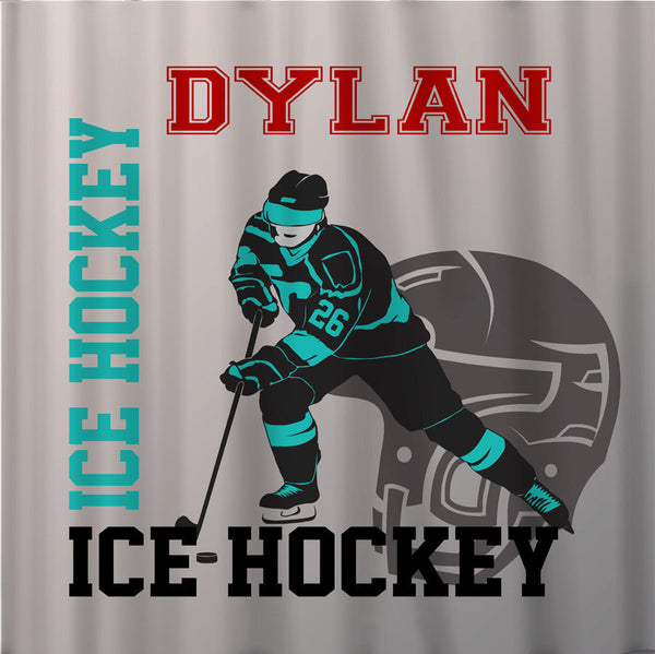 Custom Personalized Ice Hockey Shower Curtain - Any Sport, ANY colors and Accent, with or without name