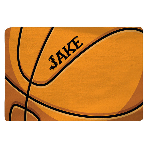 Personalized Basketball Plush Fuzzy Area Rug - Detailed sport graphic, Size 48x30,  96x44, 96x60