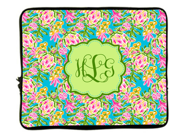 Personalized Monogram Designer Sea Turtle Laptop Sleeves -13 and 17 inch sizes