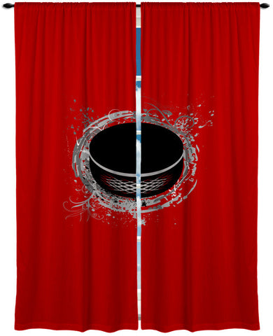 Custom Window Curtain, Hockey Theme Shown in Red Options - Any Size - Any Colors - Any Pattern
