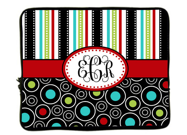 "Personalized Monogram Designer Mod Dot & Stripe Laptop Sleeves - Any choice -13"" and 17"""