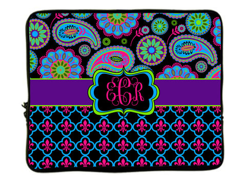 "Personalized Monogram Designer Paisley & Fleur de Lis Laptop Sleeves - Any choice -13"" and 17"""