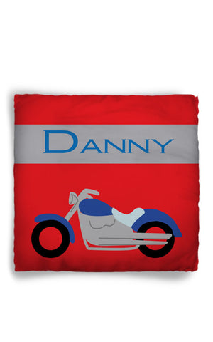 Personalized Throw Pillow Motorcycle Theme  - Custom with your Name or Initials - two sizes available