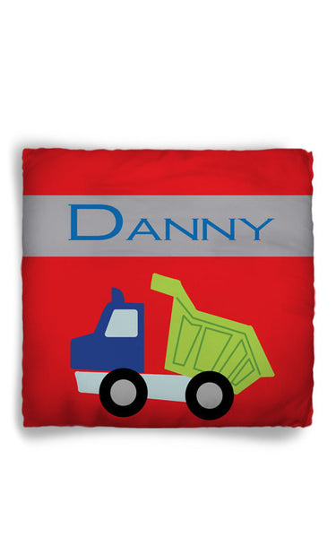 Personalized Throw Pillow Dump Truck Theme  - Custom with your Name or Initials - two sizes available