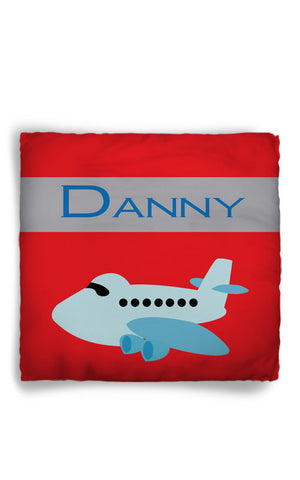 Personalized Throw Pillow Plane Theme  - Custom with your Name or Initials - two sizes available