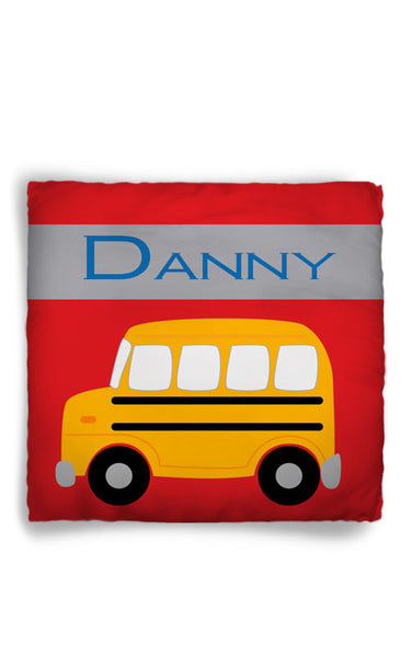 Personalized Throw Pillow School Bus Theme  - Custom with your Name or Initials - two sizes available