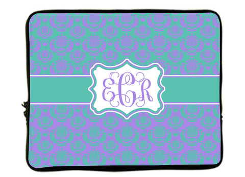 "Personalized Monogram Designer Minuet Damask Laptop Sleeves - Any choice -13"" and 17"""