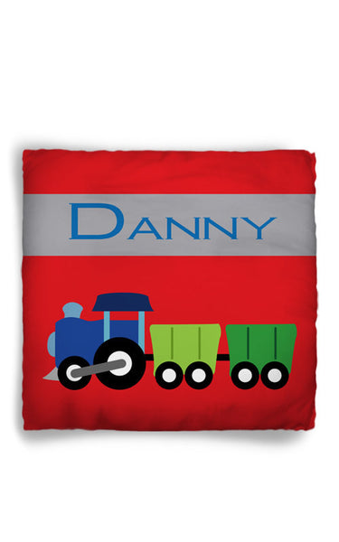 Personalized Throw Pillow Train Theme  - Custom with your Name or Initials - two sizes available