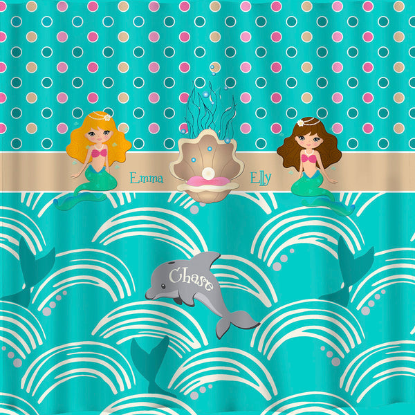Day At The Paradise Shower Curtain -Theme with Blonde and Brunette Mermaid- custom personalized shared shower curtain