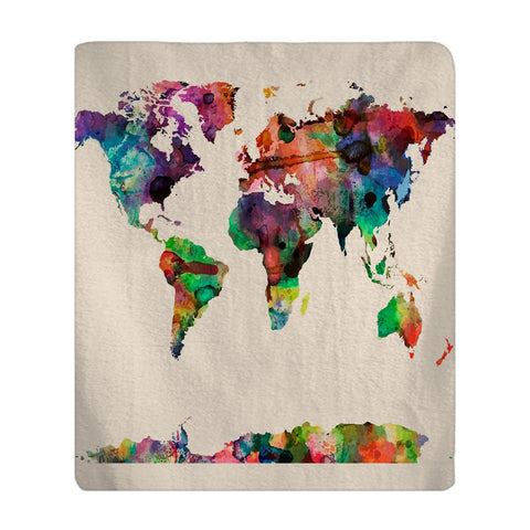 Personalized Watercolor World Map Plush Fleece Blanket - available many color background options