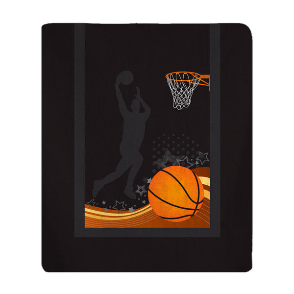 Personalized Jumpshot Basketball Plush Fleece Blanket - Available in black with personalization