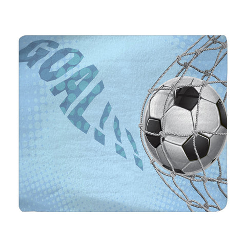 Personalized Soccer Goal Plush Fleece Blanket - Shown in Baby Blue color - Available any color