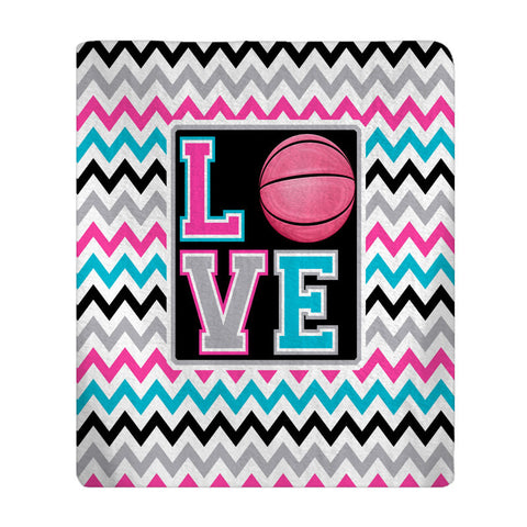 Personalized Love Basketball Plush Fleece Blanket - Shown in Hot Pink and Turquoise and Lime and Turquoise Option
