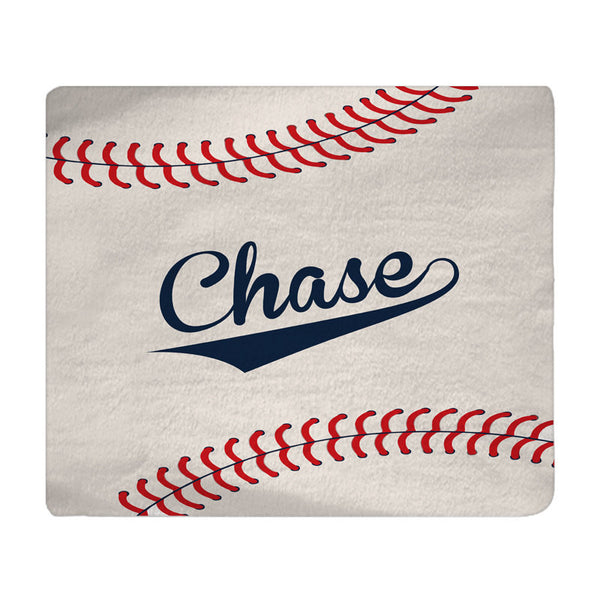 Personalized Stitched Baseball Plush Fleece Blanket - Shown in Beige, Navy and Red color