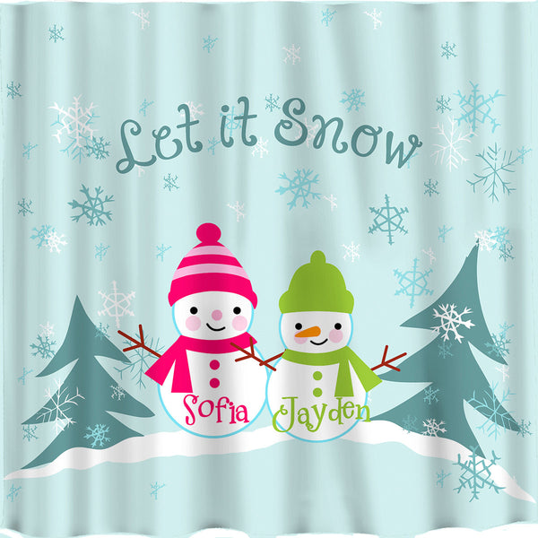 Let it Snow Shower Curtain -Great winter decoration or Great gift