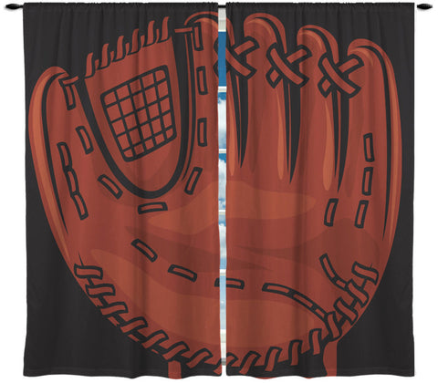 Custom Window Curtain or Valance, Baseball Glove Theme- Any Size - can personalize