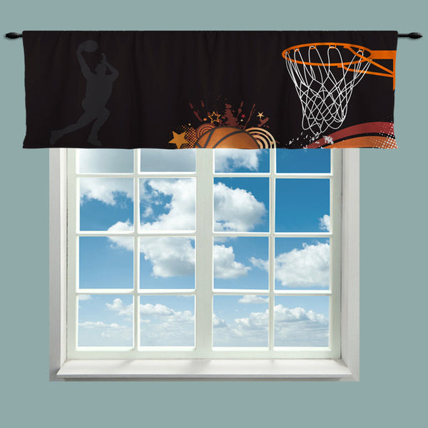 Custom Window Curtain or Valance, Jumpshot Basketball Theme Featured- Any Size - Any Colors - Any Pattern