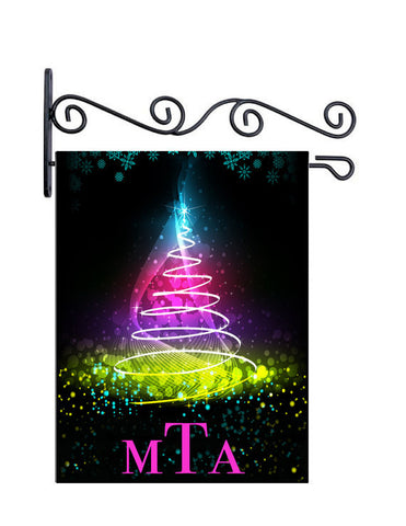 Modern Christmas Tree Custom Personalized Yard Flag - 13.5 by 18.5 inches - your name and or initial