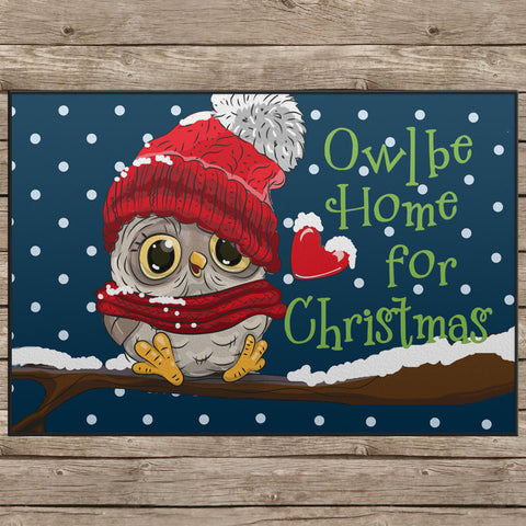Owl Be Home For Christmas Door Mat - 24x18""