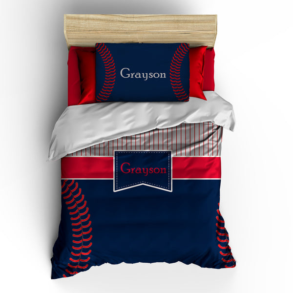 Monogrammed Navy Baseball Stripes and Stitches Bedding