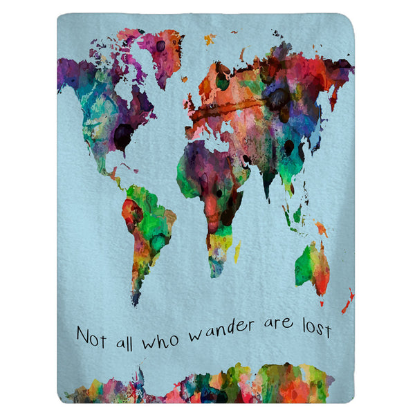 Watercolor World Map Fleece Baby Blanket -Boy or Girl - FREE SHIPPING NOW, while supplies last!