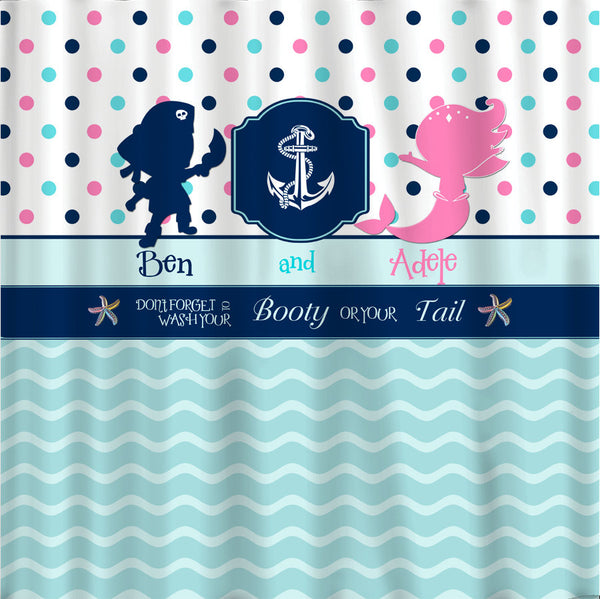 Mermaid and Pirate Anchor Custom Shower Curtain