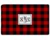 Buffalo Plaid Rug with Monogram, Black and white or black and red