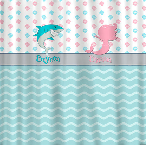 Shark and  Mermaid Seashell Custom Shower Curtain