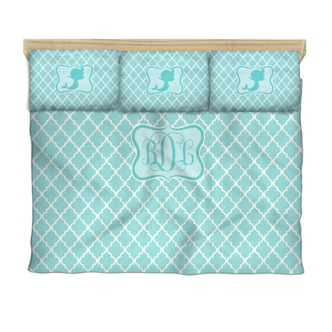 Mermaid and Quatrefoil Daybed Bedding with 2 or 3 Pillow Cover Shams