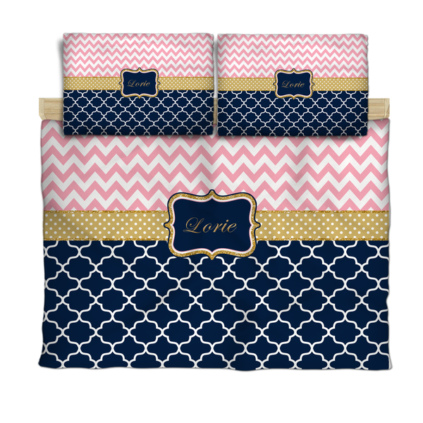 Chevron and Quatrefoil Gold Accents Bedding with 2 or 3 Pillowcover Shams