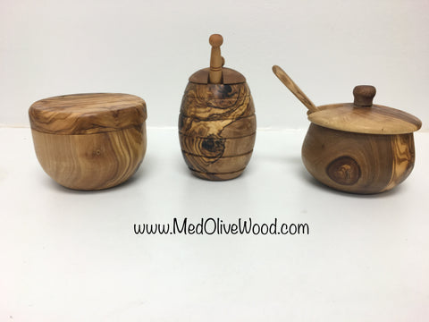 Set of Three Olive Wood Kitchen Accessories Gift Set - Mediterra
