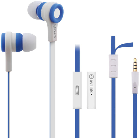 Rubber Earphones w Mic Blue and White