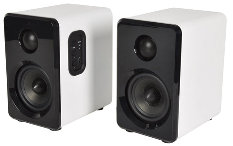 Active Bluetooth Bookshelf Speakers White