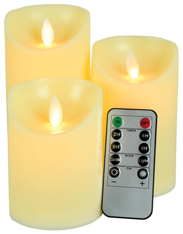 Set of 3 Flameless Wax Candles