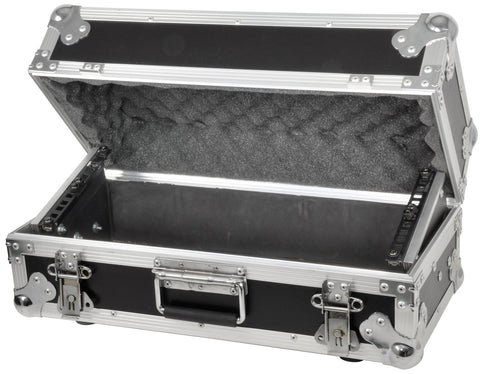 Tilting 4U rack case for mixer media player