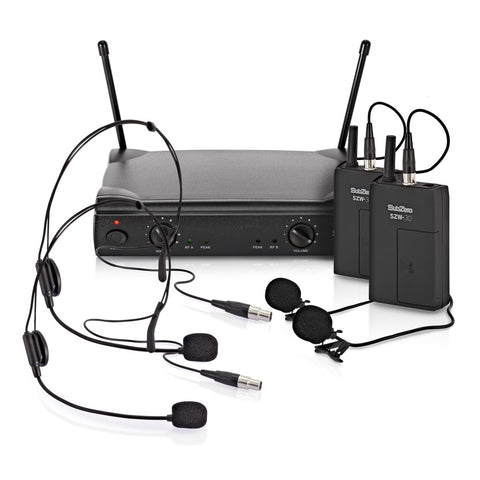 SubZero SZW30 Double Lavalier and Headset Wireless Microphone System