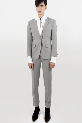 Gray embroidery  suit