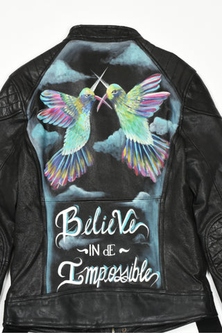 believe in dE impossible hand painted leather jacket