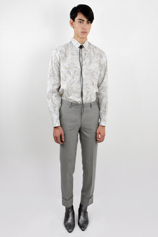 Gray Leaf Button Down