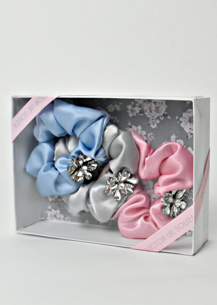 Pastels-set of 3 chouchou hair ponytail holder.