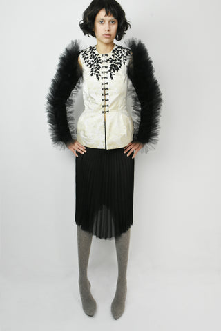 Tulle ruffles fitted jacket