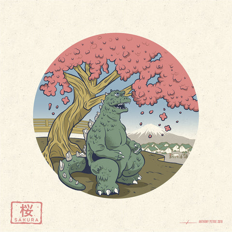 "Strange Beast ""Sakura"" 7"" x 7"" Mini Screen-Print"