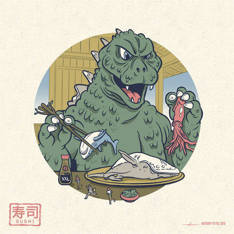 "Strange Beast ""Sushi"" 7"" x 7"" Mini Screen-Print"