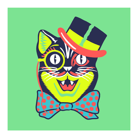 "Maskerade - Cat in the Top Hat 6"" x 6"" Mini Screen-Print"